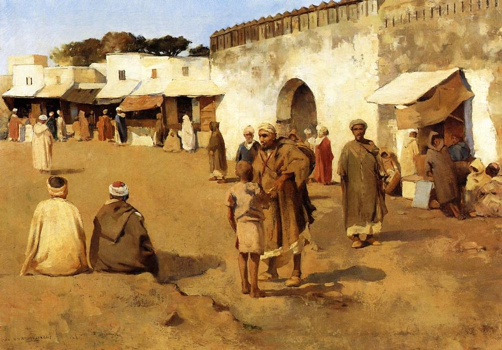 Moroccan Market, 1882 by Theo Van Rysselberghe (1862-1926, Belgium) | Art Reproduction | WahooArt.com