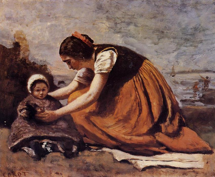 Mother and Child on the Beach, 1860 by Jean Baptiste Camille Corot (1796-1875, France) | WahooArt.com