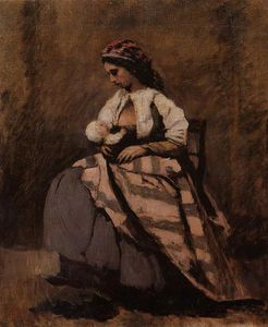 Jean Baptiste Camille Corot - Mother Breast Feeding Her Child