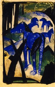 Franz Marc - The Mother Mare of the Blue Horses I
