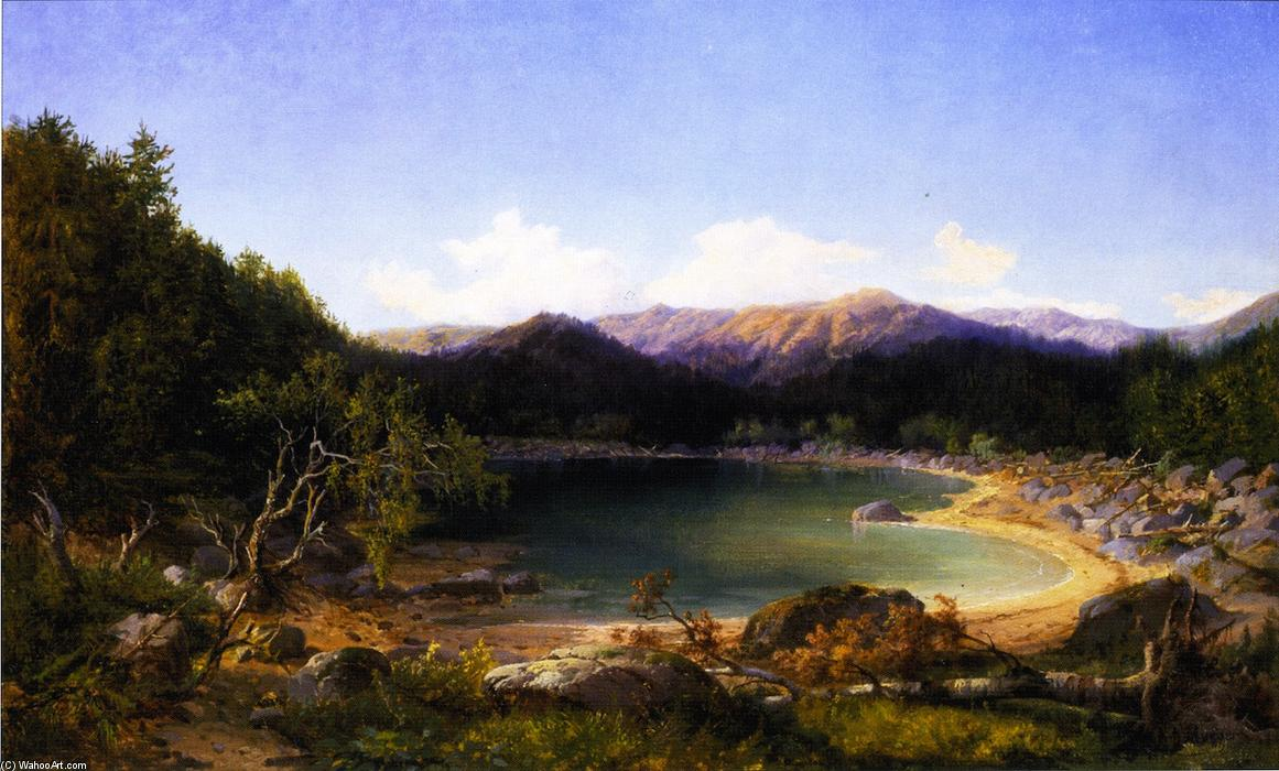 Mountain Lake Scene by Gilbert Munger (1837-1903, United States) | Oil Painting | WahooArt.com