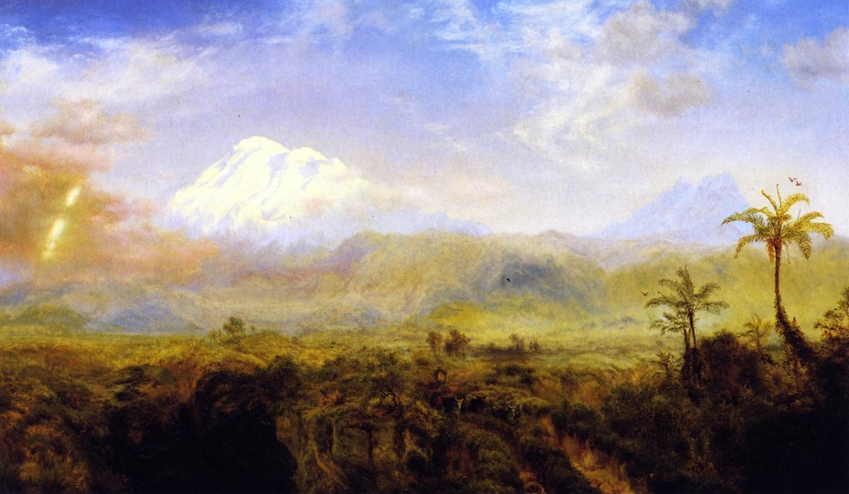Mount Chimborazo (also known as Table Lands of Rio Bamba, Ecuador ?), 1866 by Louis Remy Mignot (1831-1870, United States) | WahooArt.com