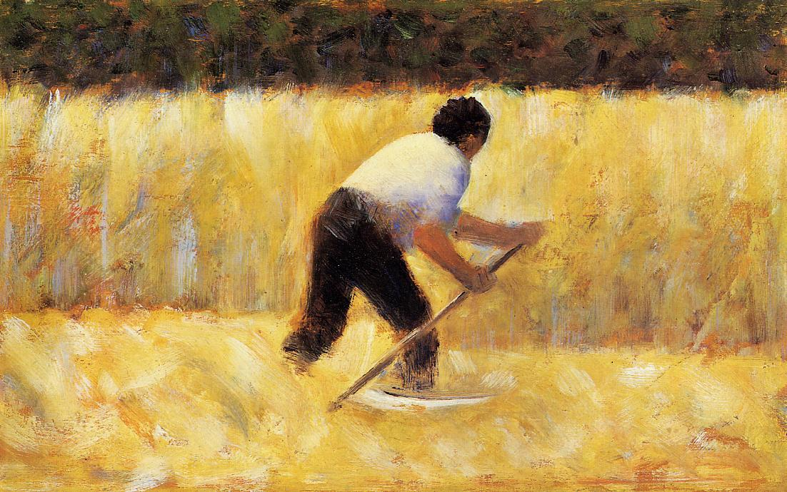 The Mower, Oil by Georges Pierre Seurat (1859-1891, France)