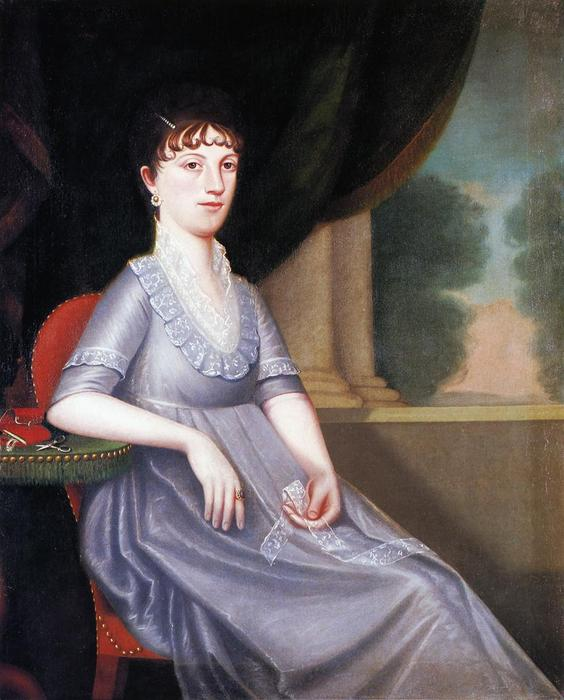 Mrs. Ebenezer Porter (Lucy Patty`` Pierce Merwin)``, 1804 by Ralph Earl (1751-1801, United States) | Oil Painting | WahooArt.com