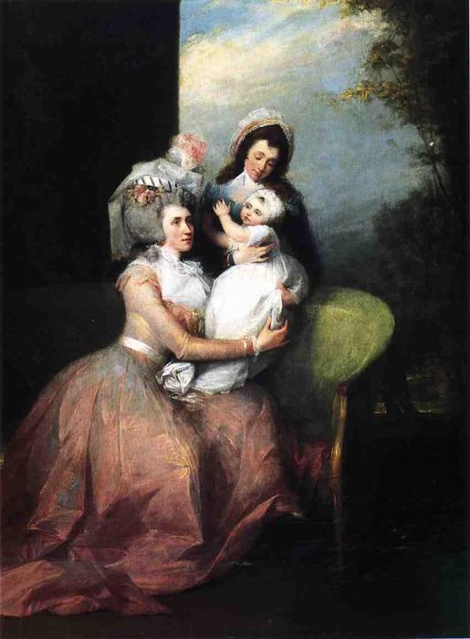 Mrs. John Barker Church (Angelica Schuyler), Son Philip and Servant, Oil On Canvas by John Trumbull (1756-1843, United Kingdom)