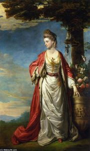 Joshua Reynolds - Mrs. Trecothick, Full Length, in -Turkish- Masquerade Dress, Beside an Urn of Flowers, in a Landscape