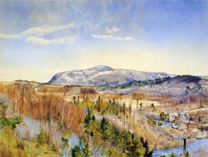 Order Famous Paintings Reproductions : Mt. Everett from Monument Mountain in April, 1867 by Henry Roderick Newman (1833-1918, United States) | WahooArt.com