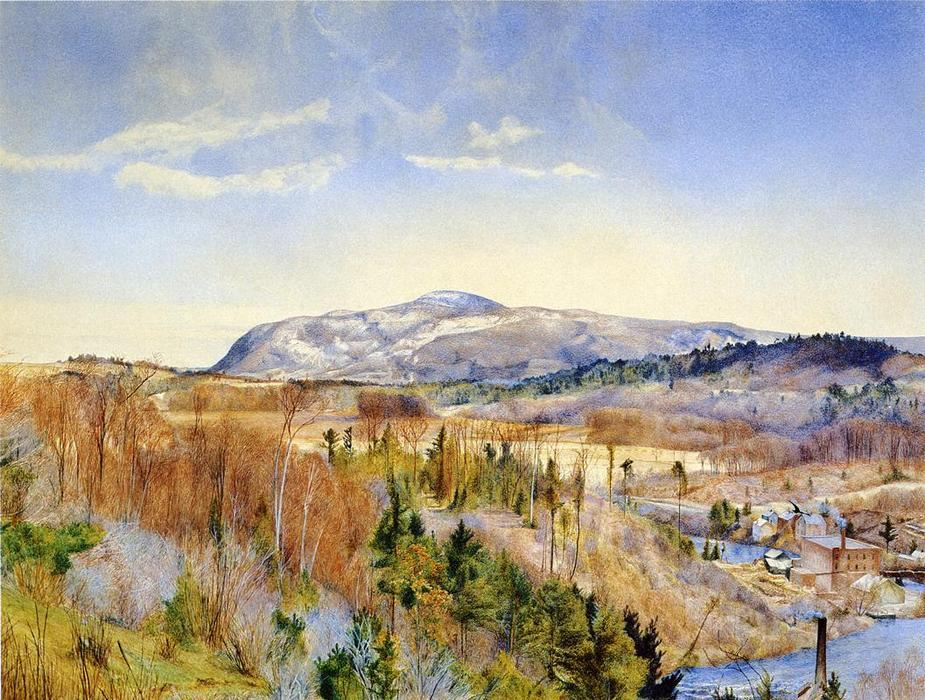 Mt. Everett from Monument Mountain in April, Watercolour by Henry Roderick Newman (1833-1918, United States)