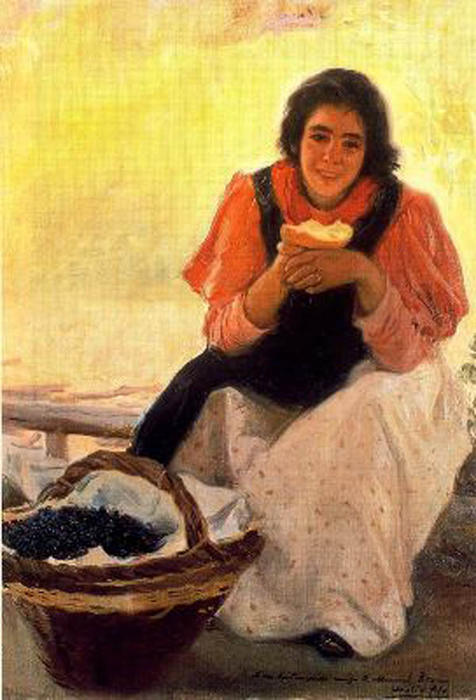 Muchacha Comiendo, Oil On Canvas by Cecilio Pla Y Gallardo (1860-1934, Spain)