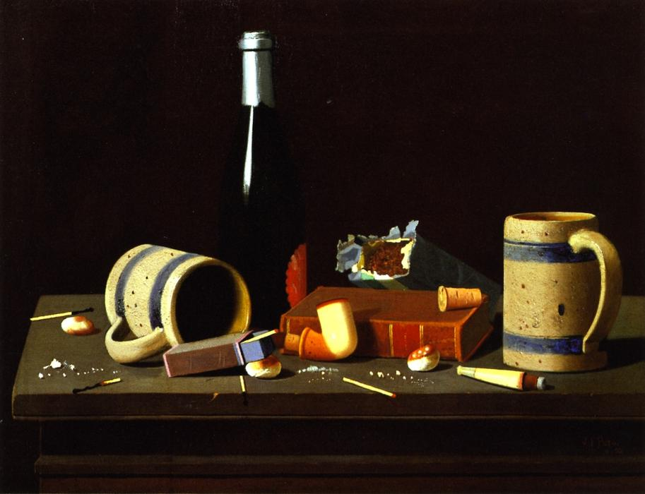 Mugs, Bottle and Pipe, 1890 by John Frederick Peto (1854-1907, United States) | Famous Paintings Reproductions | WahooArt.com