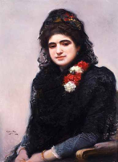 Mujer con mantilla, Oil On Canvas by Cecilio Pla Y Gallardo (1860-1934, Spain)