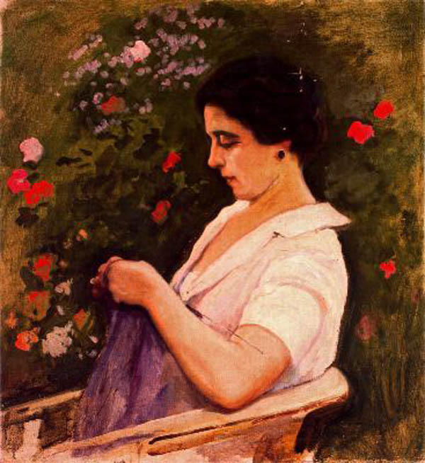 Mujer Sentada, Oil On Canvas by Cecilio Pla Y Gallardo (1860-1934, Spain)