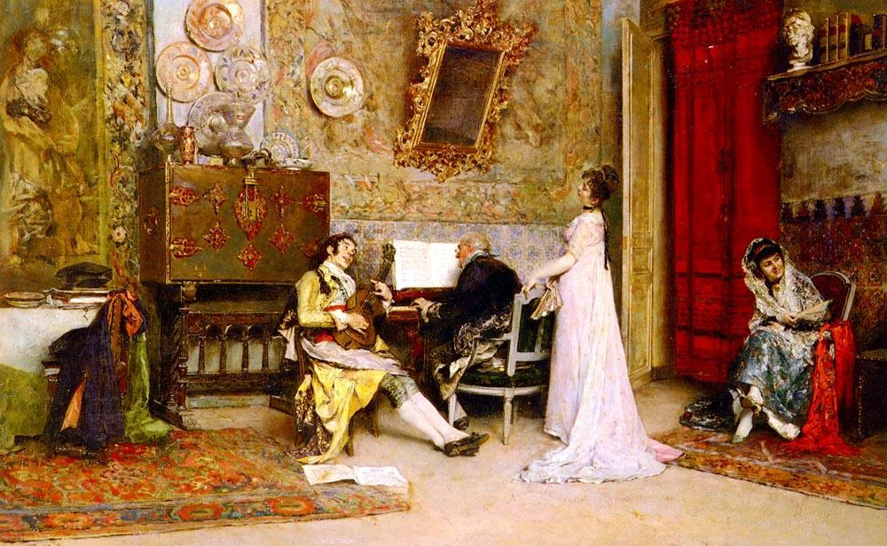 The Music Lesson by Raimundo De Madrazo Y Garreta (1841-1920, Italy)