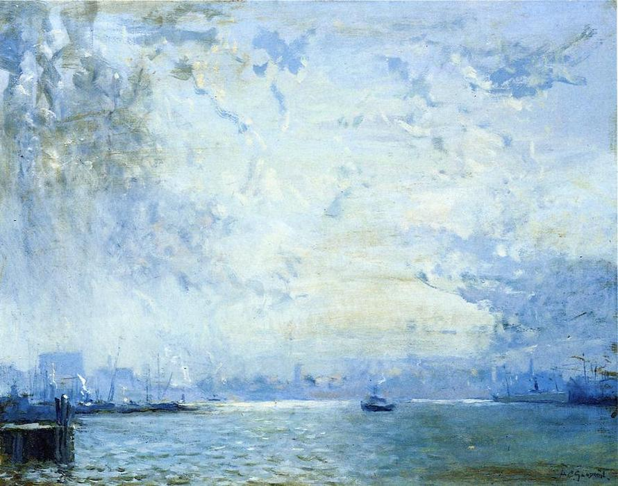 The Mystic River Docks, Oil On Canvas by Arthur Clifton Goodwin (1864-1929, United States)