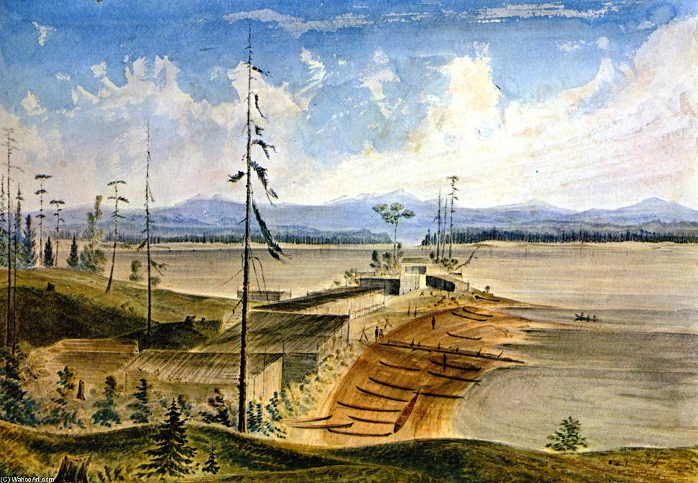 Nanaimo Indian Village, Watercolour by James Madison Alden (1834-1922, United States)