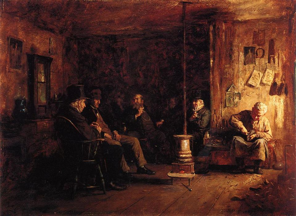 The Nantucket School of Philosophy, Oil On Panel by Jonathan Eastman Johnson (1824-1906, United Kingdom)