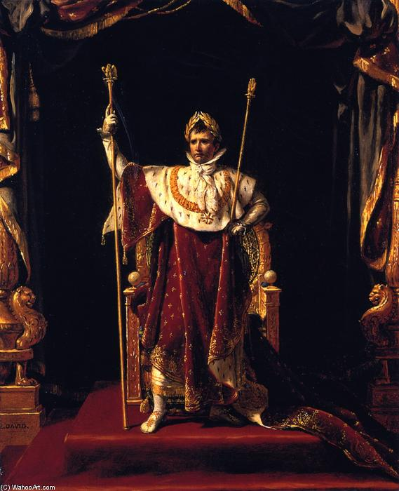 Napoleon I in His Imperial Robes, Oil On Canvas by Jacques Louis David (1748-1800, France)
