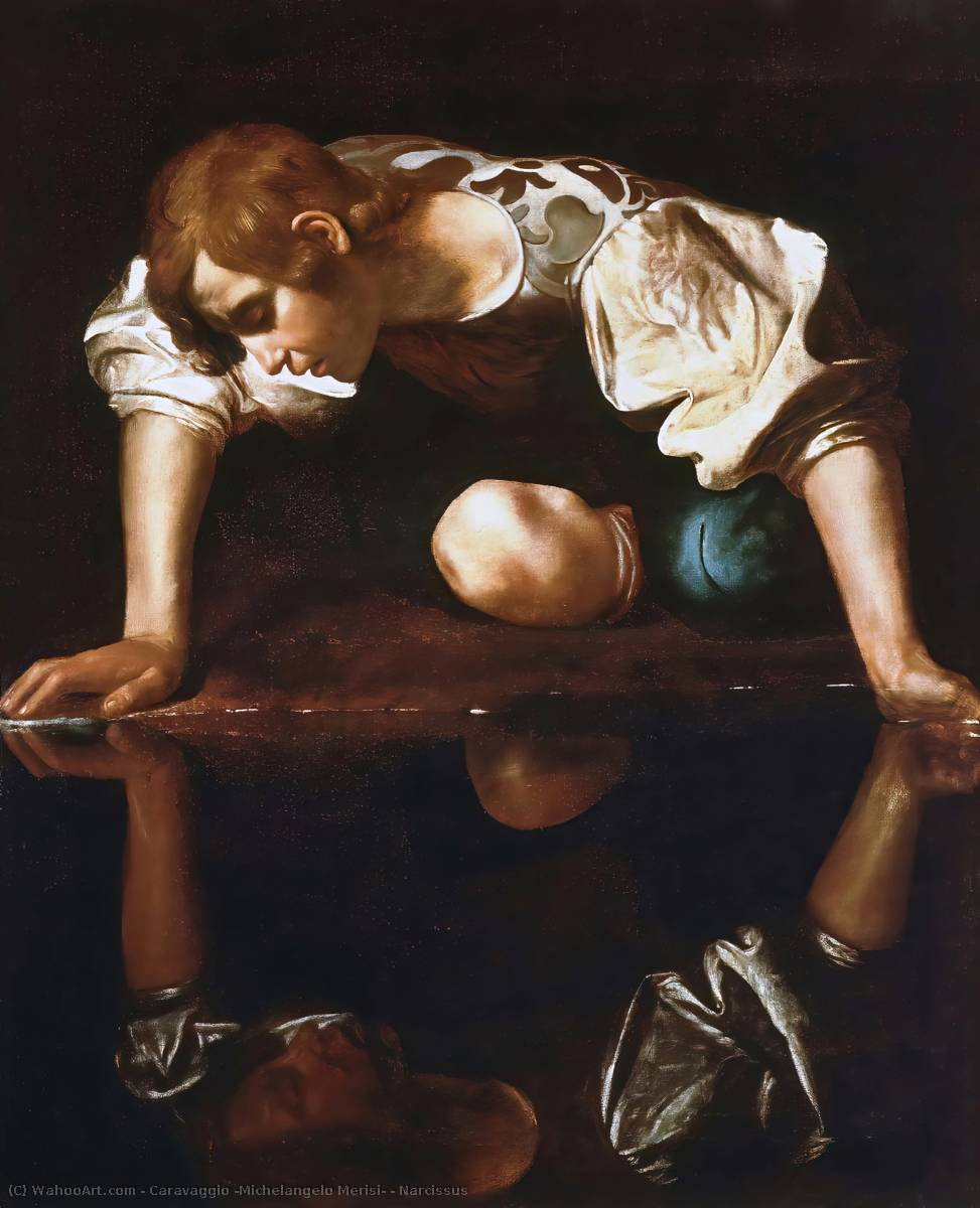 Narcissus, Oil On Canvas by Caravaggio  (order Fine Art Framed Giclee Caravaggio (Michelangelo Merisi))