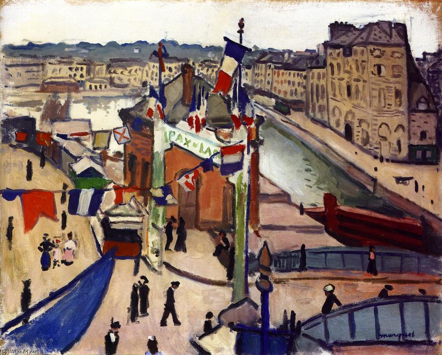 National Holiday at Le Havre, Oil On Panel by Albert Marquet (1875-1947, France)
