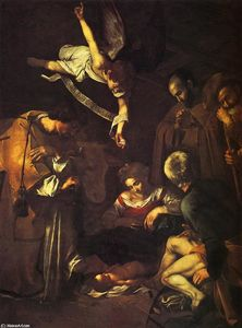 Caravaggio (Michelangelo Merisi) - Nativity with Saints Francis and Lawrence