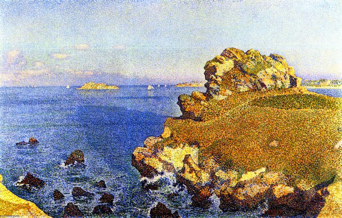 Near the Rocks of Per Kiridec, Roscoff, 1889 by Theo Van Rysselberghe (1862-1926, Belgium) | Famous Paintings Reproductions | WahooArt.com