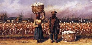 William Aiken Walker - Negro Man and Woman in Cotton Field with Cotton Baskets