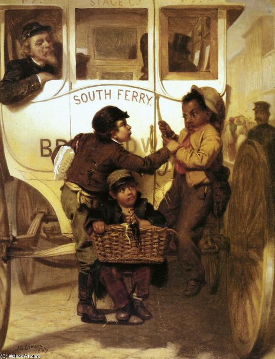 A Newspaper Boy Hitching a Ride (also known as Colored People Not Allowed on This LIne), 1863 by John George Brown (1831-1913, United Kingdom) | Museum Art Reproductions John George Brown | WahooArt.com