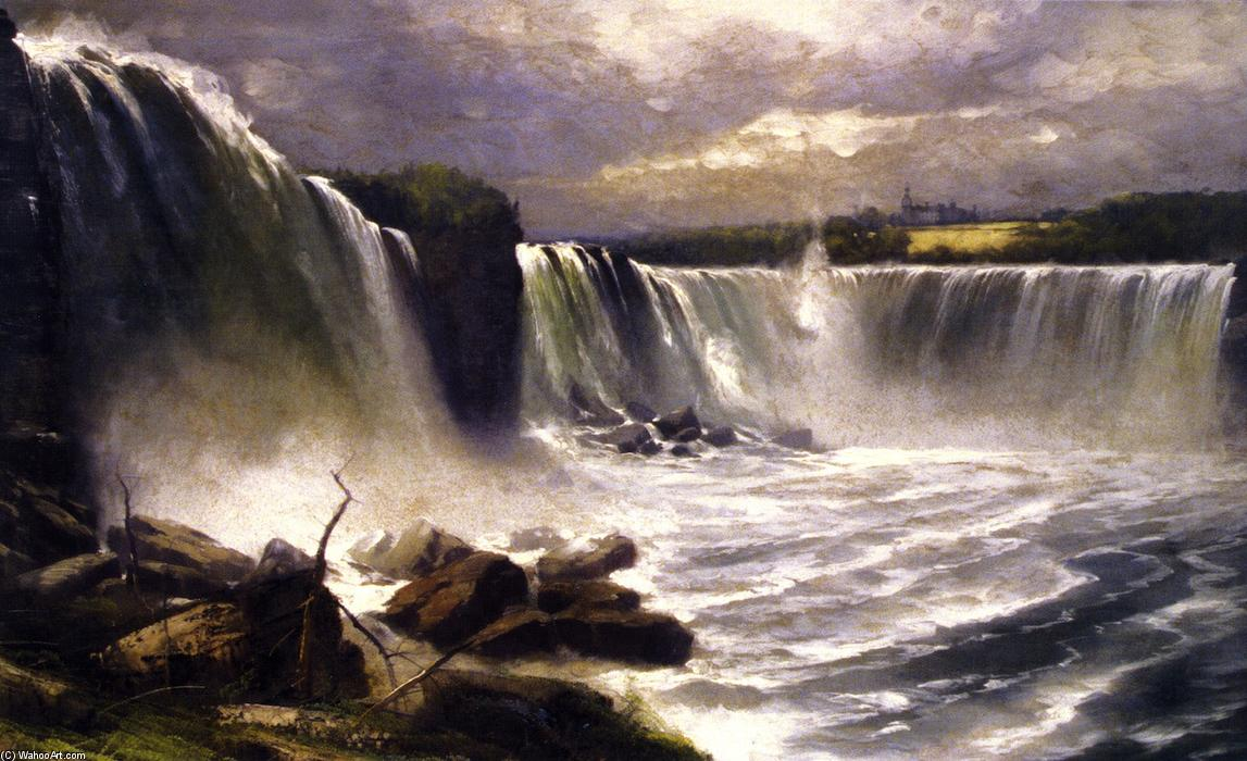 Niagara Falls Showing the Canadian and American Views by Gilbert Munger (1837-1903, United States) | Painting Copy | WahooArt.com
