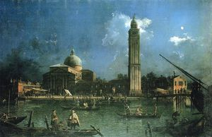 Giovanni Antonio Canal (Canaletto) - Night-time Celebration Outside the Church of San Pietro di Castello (also known as La Vigilia de San Pietro)