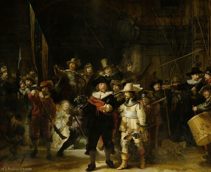 Night Watch, Oil On Canvas by Rembrandt Van Rijn  (order Fine Art Print on canvas Rembrandt Van Rijn)