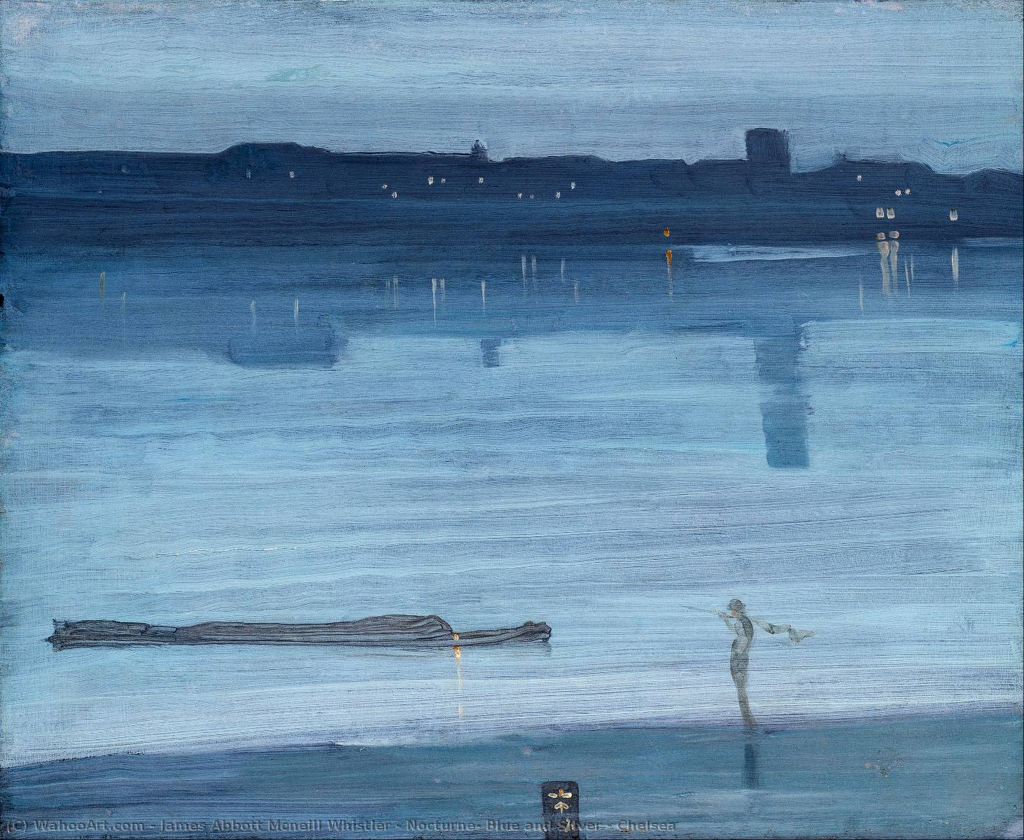 Nocturne: Blue and Silver - Chelsea, 1871 by James Abbott Mcneill Whistler (1834-1903, United States) | Famous Paintings Reproductions | WahooArt.com