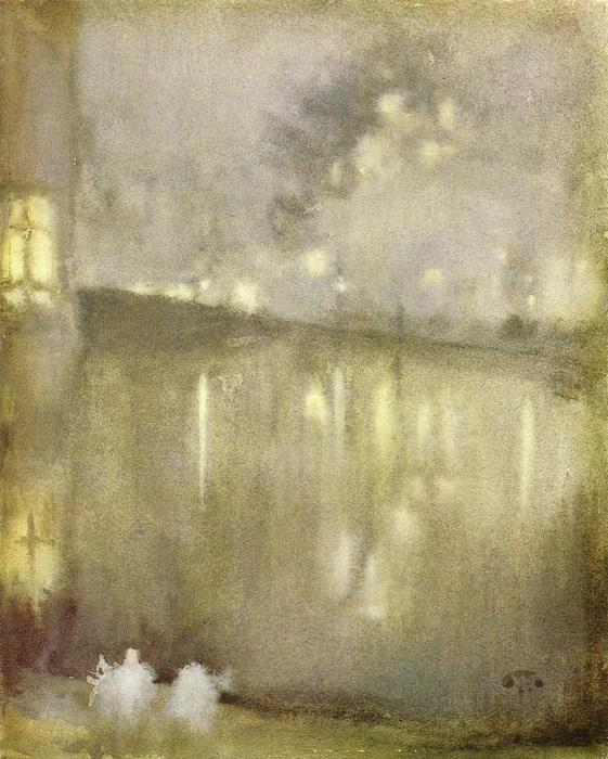 Nocturne: Grey and Gold - Canal, Holland, Watercolour by James Abbott Mcneill Whistler (1834-1903, United States)