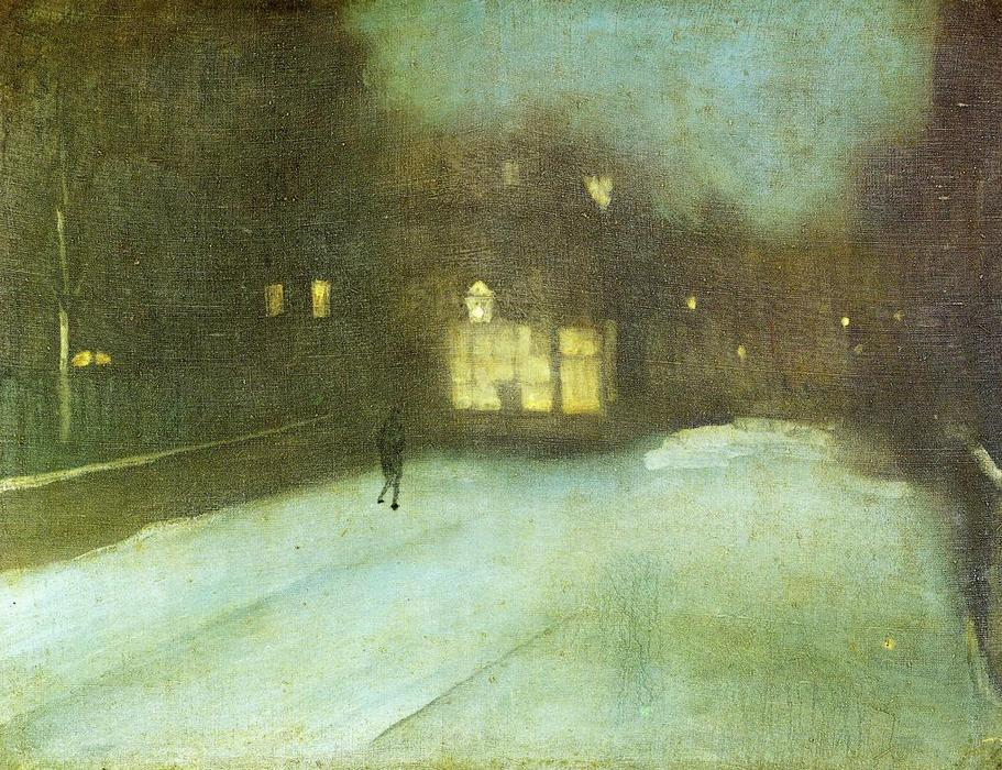 Nocturne: Grey and Gold - Chelsea Snow, Oil On Canvas by James Abbott Mcneill Whistler (1834-1903, United States)