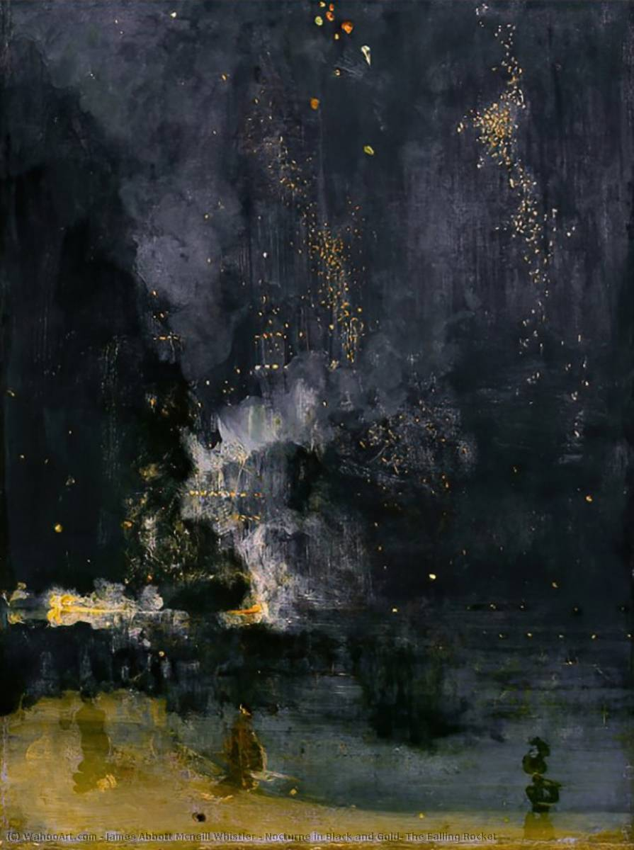 Nocturne in Black and Gold: The Falling Rocket, 1875 by James Abbott Mcneill Whistler (1834-1903, United States) | WahooArt.com