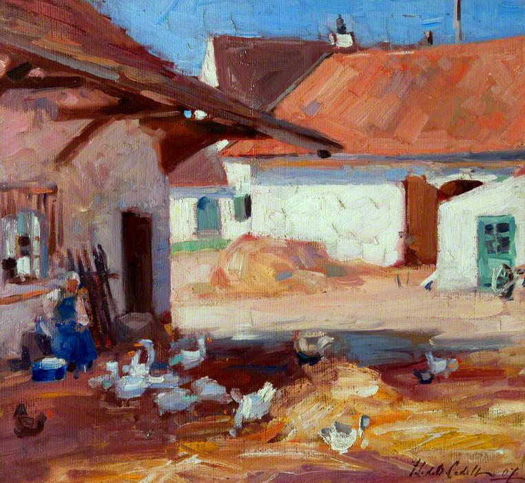 Normandy Farmyard, 1907 by Francis Campbell Boileau Cadell (1883-1937) | Famous Paintings Reproductions | WahooArt.com