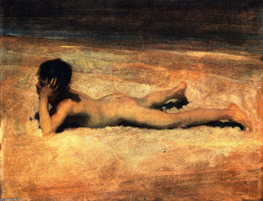 A Nude Boy on a Beach (also known as Boy Lying on a Beach), Oil On Panel by John Singer Sargent (1856-1925, Italy)