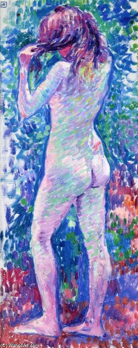 Nude from Behind, Fixing Her Hair, Oil On Canvas by Theo Van Rysselberghe (1862-1926, Belgium)