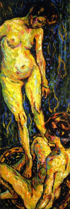 Nude Group II, Oil On Canvas by Ernst Ludwig Kirchner (1880-1938, Germany)