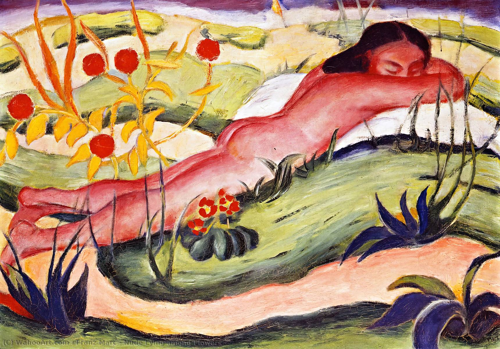 Nude Lying among Flowers, 1910 by Franz Marc (1880-1916, Germany) | Art Reproduction | WahooArt.com
