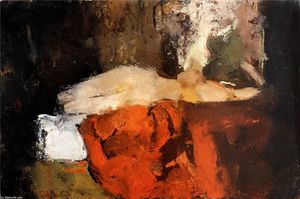 George Hendrik Breitner - Nude with black stockings on a bed