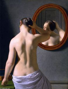 Christoffer Wilhelm Eckersberg - A Nude Woman doing her Hair before a Mirror