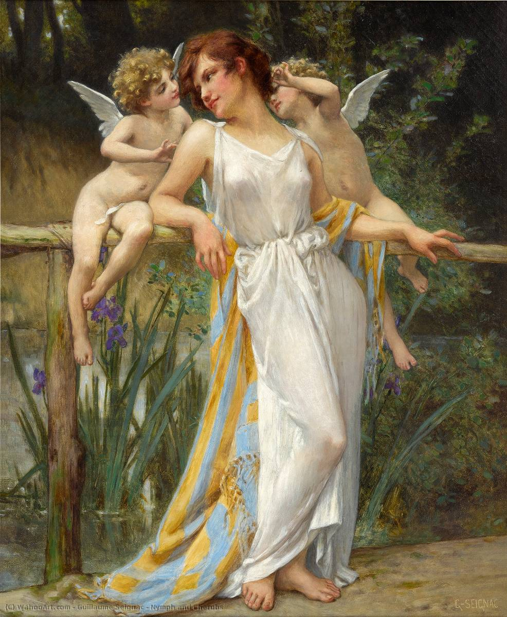 Nymph and Cherubs, Oil On Canvas by Guillaume Seignac (1870-1924, France)