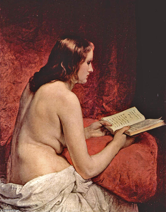 Odalisque with Book, 1866 by Francesco Hayez (1791-1882, Italy) | Painting Copy | WahooArt.com