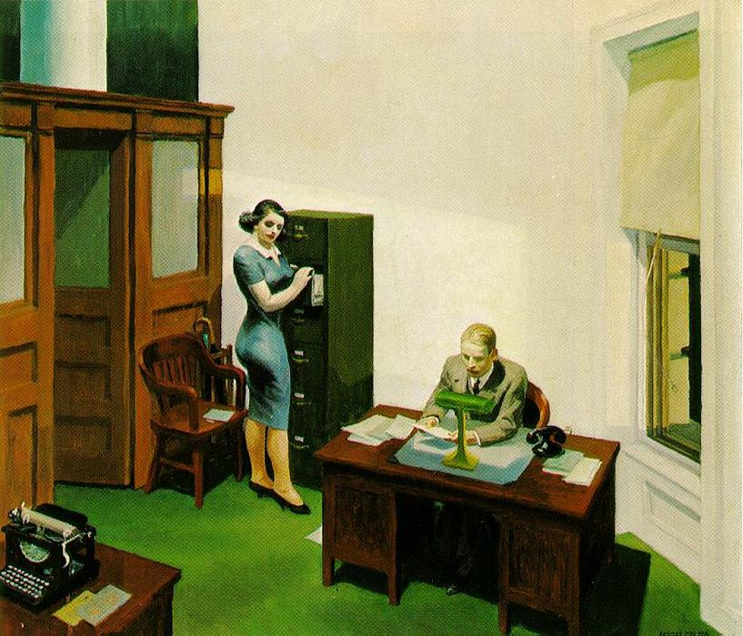 Office at Night, Oil On Canvas by Edward Hopper (1931-1967, United States)