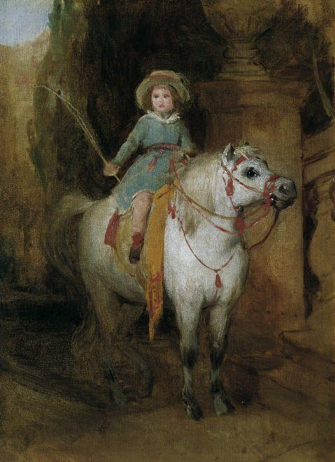 Oil sketch for the portrait of Prince Johann II of Liechtenstein on a Schimmelpony, Oil On Canvas by Friedrich Ritter Von Amerling (1803-1887)