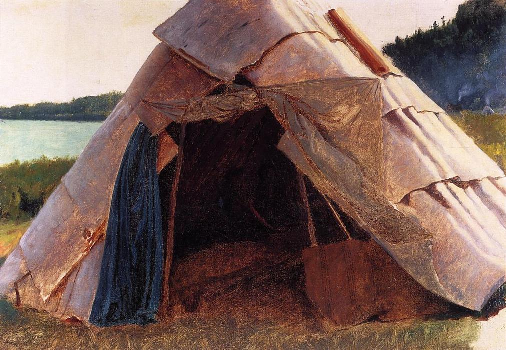 Ojibwe Wigwam at Grand Portage, Oil On Canvas by Jonathan Eastman Johnson (1824-1906, United Kingdom)