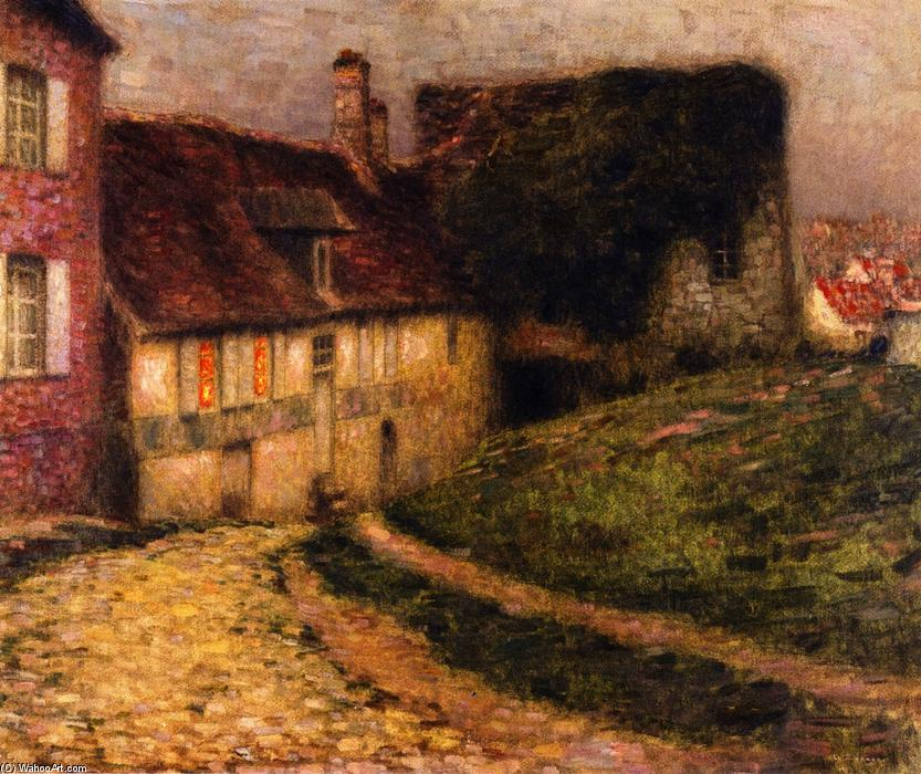 Old Houses, Oil On Canvas by Henri Eugène Augustin Le Sidaner (1862-1939, Mauritius)