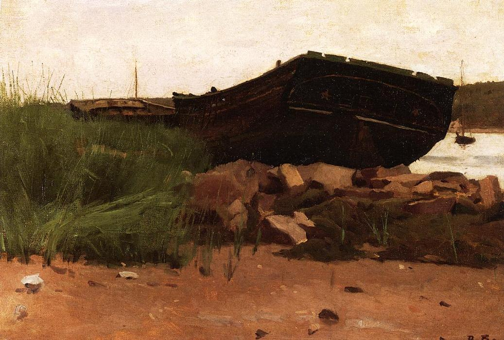 Old Hulks, Oil On Panel by Dennis Miller Bunker (1861-1890, United States)