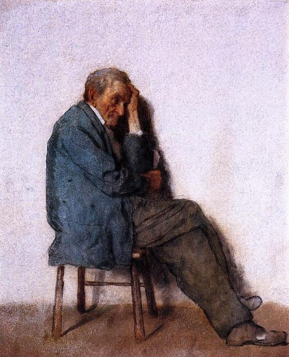 Old Man, Seated, 1880 by Jonathan Eastman Johnson (1824-1906, United Kingdom) | Painting Copy | WahooArt.com