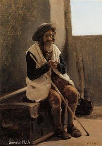 Jean Baptiste Camille Corot - Old Man Seated on Corot-s Trunk